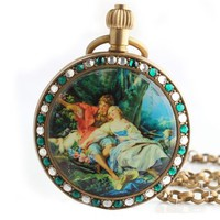 Mechanical Pocket Watch Green Full Hunter Cace with Wind Chain Crystal Inlaid Scenery for Unisex