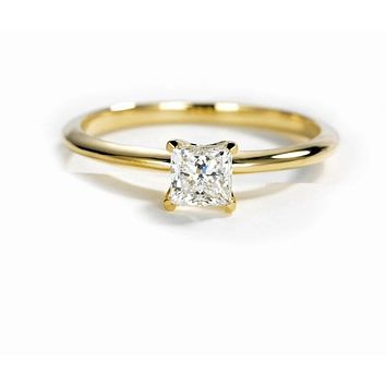 10K Yellow Gold 4.5mm Moissanite Diamond Solitaire Engagement Ring
