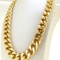 """Heavy Shiny Cut LIGHT GOLD Chain Chunky Curb Chain Necklace 24"""" Spring  Clasp lariat necklace Fashion necklace"""