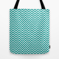 cool, trendy teal chevron zigzag graphic pattern. Tote Bag by PatternWorld
