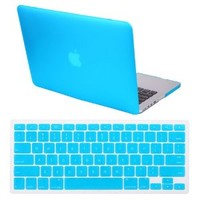 """HDE Frosted Matte Rubber Coated Hard Shell Clip Snap-On Case Skin Cover for Macbook Pro Retina 13"""" w/ Matching Keyboard Skin (Teal) - Amazon.ca"""