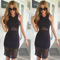 Black Summer Mesh Dress Bodycon Stripe Dress = 5613049793