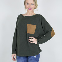 Pocket & Patch Long Sleeve Sweater