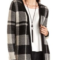 Plaid Open Front Cardigan Sweater by Charlotte Russe - Black Combo
