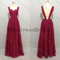 Sleeveless prom dress,wine long evening dress,fashion bridesmaid dress,chiffon prom dress,short hot sales dress,2014 wine color dresses