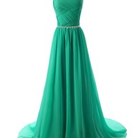 Dressystar Elegant Chiffon Beads Long Prom Dresses 2016 Pleated Party Gowns Size 2 Green