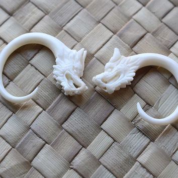 6g 4mm Small Dragon Gauges Real Bone From Balicantik On Etsy