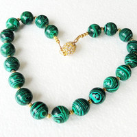 Malachite Green Round Gold Rhinestone Magnetic Clasp Chunky Necklace /One Of A Kind, Statement Necklace