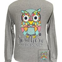 Girlie Girl Southern Originals Classy Preppy Owl Gravel Long sleeve T Shirt