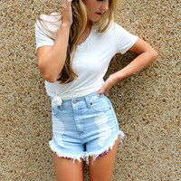 Daisy High Waisted Light Wash Distressed Bandana Frayed Denim Shorts