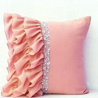 Beige Latte Ruffled Pillow In Georgette Elegant Crystal Cushion