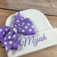 Personalized Baby Beanie Hat, Monogramed Baby Hat,  Embroidered Monogram Lavender, Infant Girl Personalized Newborn Baby Shower Gift,