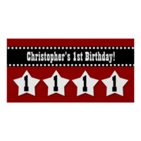 1st Birthday Red Stars Dashed Ribbon W001 Posters