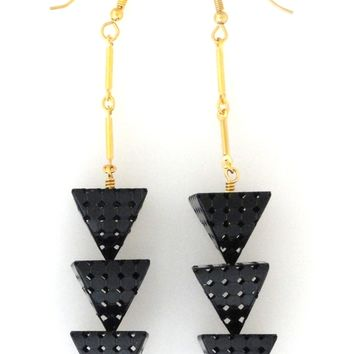 Supermarket: Black large triple pyramid earrings from Jenny Dayco