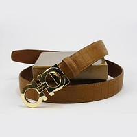 Perfect Ferragamo Woman Fashion Smooth Buckle Belt Leather Belt
