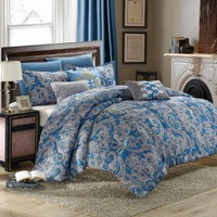 Chic Home Vienna 8-Piece Reversible Comforter Set/Printed Luxury Bed in a Bag, King