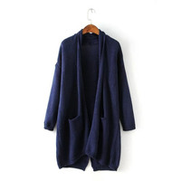 Long Sleeve Knitted Shawl Cardigan