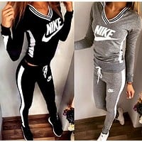 Print V-Neck Sweatshirt Sweater Pants Sweatpants Set Two-Piece Sportswear