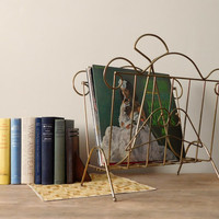 Gold Metal Magazine Rack, Record Holder