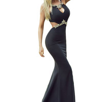 women's homecoming Luxury Floor Length Party Formal Gowns Dresses Diamond Embellished Sexy Cutout Black Mermaid long Dress