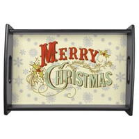 Rustic Merry Christmas on snowflake pattern Serving Tray
