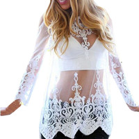 Women White Long Sleeve Embroidery Floral Lace Crochet Transparent Shirt Blouse