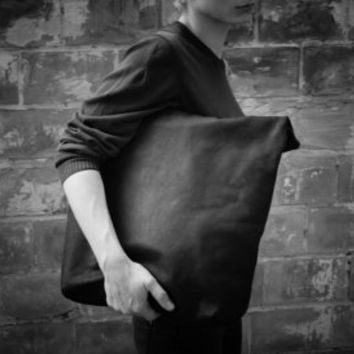 Leather Tote Bag  | Black Leather Travel Bag | oversized leather tote womens | hand stitched leather