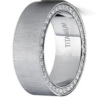 CERTIFIED 8mm Titanium Brushed Wedding Band Ring with Cubic Zirconia, Two Row Pave Set Eternity
