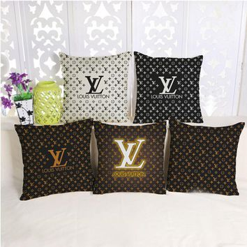 LV Classic Geometric Pattern Heavy Cotton And Linen Pillow Sets With Core Pillow Back Car Sofa Pillowcase