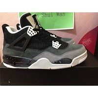 Air Jordan 4 black grey Basketball Shoes 36-47