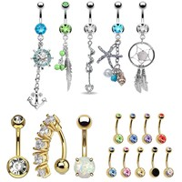 17 Belly Button Rings Dangle Bar 14G Steel Created-Opal Mix CZ Navel Body Jewelry
