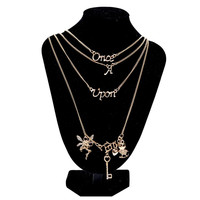 Jewelry Multi Layer Maxi Necklace Gold Design Once Upon A Time Statement Necklaces   Pendants For Women SM6