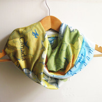 Map Printed Infinity Jersey Scarf