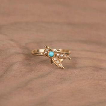 CREYUG7 Victorian Turquoise and Seed Pearl Fly Bug 14k Yellow Gold Conversion Ring