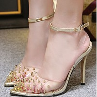 Hot style summer pointed head rivet with simple heels shoes