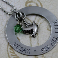 """Hand Stamped Stainless Steel Circle Washer Necklace, """"Vegan, For All Life""""  with 2 charms Vegan Jewelry"""