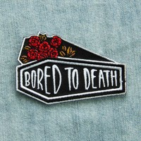 """""""Bored To Death"""" Coffin and Roses Iron on Patch"""