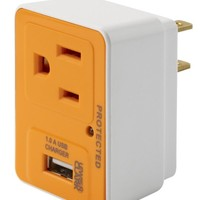 Lewis N. Clark Compact Surge Protector USB Charger, White, One Size