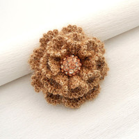 Crochet Brooch - Beige Rose Brooch - Corsage Brooch Pin - Fluffy Brooch - Autumn - Christmas Ocasion Party Brooch