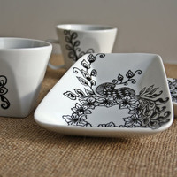 Hand Painted Coffee Cups set of 2 Black White Peacock Desing Mehndi Henna Inspired