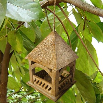 Floral Engraved Temple Top Mango Wood Bird House, Brown By The Urban Port