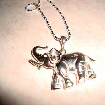 Unisex NECKLACE: Hand Cast Sterling Silver Elephant on Sterling Silver Chain - Hand Cast with Melted sterling silver - Handmade Fine Jewelry
