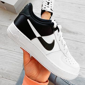 Nike NIKE AIR FORCE 1 AF1 silk stitching high and low to help NBA joint sneakers contrast Shoes Black Tail