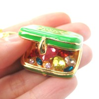 Suitcase Travel Bag Locket Full of Gems Necklace in Green - It Opens Up   Limited Edition