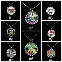 Monster High Bottle Cap Necklace or Keychain ~ Free Shipping in US