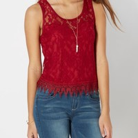 Burgundy Lace Skimmer Tank   Going Out Tank Tops   rue21
