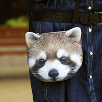 Raccoon cross body, Olinguito shoulder bag, raccoon bag, raccoon clutch, novelty , pouch, purse, raccoon lovers , raccoon portrait , SB-243