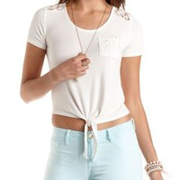 Lace Yoke Tie-Front Crop Top by Charlotte Russe
