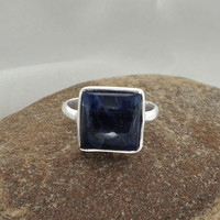Sodalite Ring -  Silver Ring - Sterling Silver Ring - Square 10mm Gemstone Ring - Silver Jewelry #1137
