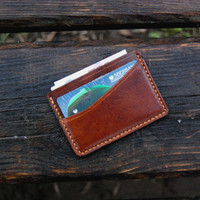 Сardholder brown Leather cards wallet Silm small  Minimalist Wallet Leather wallet Men's wallet